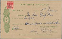 Singapur: 1875 - 1980, Accumulation Of Ca. 165 Post Forms, Telegrams, Receipts Etc., In Mixed Condit - Singapur (...-1959)