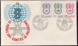 CAMBODIA (1962) Mosquito. Caduceus. Unaddressed FDC With Cachet For Mosquito Eradication Program. Scott Nos 106-8 - Cambodge