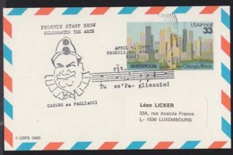 U.S.A. (1987) Caruso As Pagliacci. Illustrated Musical Cancel On Postcard. - Musica