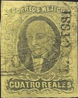 J) 1861 MEXICO, HIDALGO, 4 REALES, DISTRICT SAN LUIS POTOSI, CIRCULAR CANCELLATION, MN - Mexico