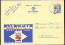 BELGIUM (1952) Coat Of Arms. Postal Card (used), Publibel No 1004, With Illustrated Ad For Les Cafes Bourgeois - Stamped Stationery