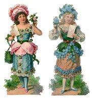 2 Grandes Chromos Découpis, Femme En Jupes Des Fleurs, Hauteur Env. 16,5 Cm - Découpis