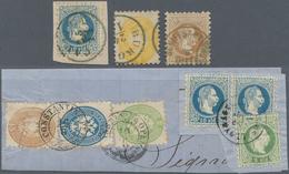 Österreichische Post In Der Levante: 1864/1880, Gehaltvolle Partie Mit 26 Marken Incl. 9 Briefstücke - Oostenrijkse Levant