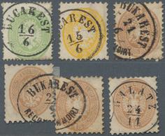 Rumänien - Stempel: 1863/1864, Austrian P.O. Levant, Group Of 6 Lombardy-Venetia Precursor Stamps Wi - Poststempel (Marcophilie)