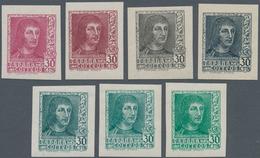 Spanien: 1938, Ferdinand II. 30c. 'Lit. Fournier Vitoria' In A Lot With About 1.200 IMPERFORATE COLO - 1850-68 Königreich: Isabella II.