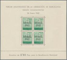 Spanien - Zwangszuschlagsmarken Für Barcelona: 1942, Town Hall Of Barcelona Miniature Sheets 4 X 5c. - Kriegssteuermarken