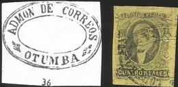 J) 1861 MEXICO, HIDALGO, 4 REALES, OVAL CANCELLATION, ADMON GRAL DE CORREOS OTUMBA, MN - Mexico