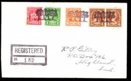 U.S.A. (1930) Oak Trees. Fancy Cancel From Four Oaks, North Carolina. Three Strikes In Black On Registered Envelope. - Poststempel