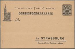 Deutsches Reich - Privatpost (Stadtpost): STRASSBURG, 1890 (ca.): Lot Von 20 Ganzsachen Ex. P 1 I Bi - Privé