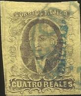 J) 1861 MEXICO, HIDALGO, 4 REALES, DISTRICT CHIAPAS IN GREEN, CIRCULAR CANCELLATION, COMITAN, MN - Mexico
