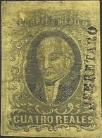J) 1861 MEXICO, HIDALGO, 4 REALES, DISTRICT QUERETARO, DOUBLE PRINT, MARGIN TOP, MN - Mexico
