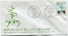 COTE D'IVOIRE ENVELOPPE 1er JOUR DU N°533  19e ANNIVERSAIRE DE L'INDEPENDANCE NATIONALE OBLITERATION ABIDJAN 7 DEC 79 - Ivory Coast (1960-...)