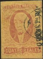 J) 1861 MEXICO, HIDALGO, 4 REALES, DISTRICT QUERETARO, FAKE, MN - Mexico