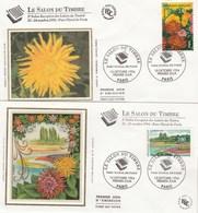 France 2 Enveloppes FDC Sur Soie Yvert 2849 Et 2850 Salon Du Timbre - Fleurs - FDC