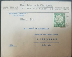 O) 1938 BRAZIL. FLOWER -CHALICE VINE AND BLOSSOMS - BOTANICAL CONGRESS SCT 477, SOC MARTIN AND CIA TO USA - Brazil