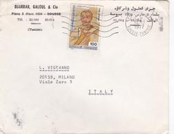 BUSTA VIAGGIATA - TUNISIA - DJARRAR GALOUL E CIE  - VIAGGIATA PER MILANO / ITALIA - Tunisia (1956-...)