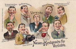 Nasen U. Handsprache Für Verliebt - Litho   (190612) - Humor