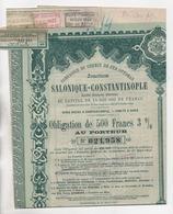 Cpa.Vieux Papiers.Compagnie Du Chemin De Fer Ottoman Salonique Constantinople Obligation De 500 Frs 1920 - Shareholdings