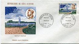 COTE D'IVOIRE ENVELOPPE 1er JOUR DU N°343 INSTITUT PASTEUR OBLITERATION 1er JOUR ABIDJAN 21 NOV 72 - Ivory Coast (1960-...)