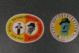Wieze Oktoberfeesten Twee Oude  Zelfklevertjes - Autocollants