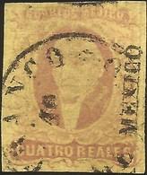 J) 1861 MEXICO, HIDALGO, 4 REALES, MEXICO DISTRICT, PLATE II, CIRCULAR CANCELLATION, MN - Mexico