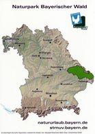 1 Map Of Germany * Landkarte Von Bayern Mit Dem Naturpark Bayerischer Wald - Vorne Eine Landschaft Des Naturparks * - Landkarten