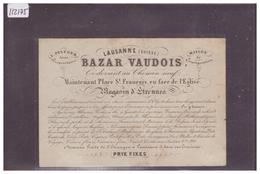 LAUSANNE - BAZAR VAUDOIS, PLACE ST FRANCOIS - CALENDRIER 1858 - CARTE FORMAT 11x7.5 Cm - TB - VD Vaud