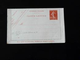 ENTIER POSTAL  CARTE LETTRE  10 C TYPE SEMEUSE - Postal Stamped Stationery