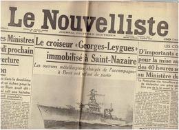 Le NOUVELLISTE Du 17 Avril 1937 - Georges Leygues - Nuvolari- Sabotage Sur La Ligne Lyon La Balme -2 Scans - Newspapers