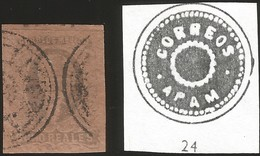 J) 1861 MEXICO, HIDALGO, 8 REALES, APAM DISTRICT, DOUBLE CIRCULAR CANCELLATION, MN - Mexico