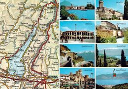 1 Map Of Italy * 1 Ansichtskarte Mit Der Landkarte  - Der Gardasee Und Sshenswürdigkeiten In Seiner Umgebung * - Landkarten