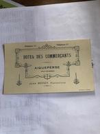 Facture Au Dos De L'Hotel Des Commerçants à Aigueperse (année 1932) - France