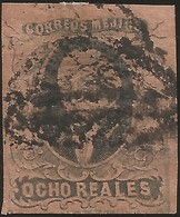 J) 1861 MEXICO, HIDALGO, 8 REALES, DISTRICT SAN LUIS POTOSI, OVAL CANCELLATION, MN - Mexico