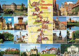 1 Map Of Germany * 1 Ansichtskarte Mit Der Landkarte - Die Romantische Straße Und Ihre Sehenswürdigkeiten * - Landkarten