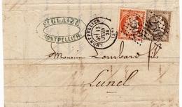 Lettre 1874 Montpellier Hérault Glaize Lombard Et Fils Lunel Timbre Cérès - 1871-1875 Cérès