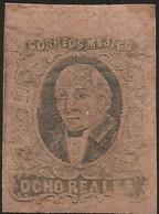 J) 1861 MEXICO, HIDALGO, 8 REALES, WITHOUT OVERPRINT, JUMBO MRGINS, MN - Mexico