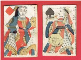 LOT 2 CARTES A JOUER ANCIENNES DAME CARREAU RACHEL DAME PIQUE PALLAS - Other