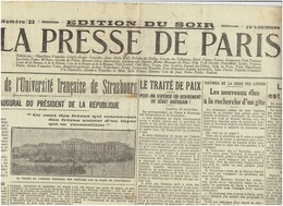 LE PRESSE DE PARISdu 23 Novembre 1919 / La Résurrection De L'Université De Strasbourg - Journaux - Quotidiens