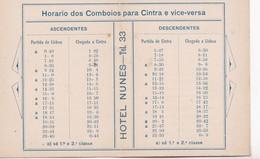 HOTEL NUNES CINTRA TIMETABLE HORARIO PORTUGAL ADVERTISING 1940's - BLEUP - Europa