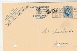 Watou , Griffe Linéaire   , Cachet  Bruxelles 1933 ,entier Postal 50 C ( J. De Bruyne ) - Poststempel