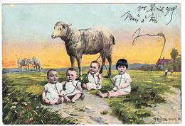 CPA Th. Bauer, Wien, Les Bébés Boivent Du Lait De Brebis, Gel. 1905 - Künstlerkarten