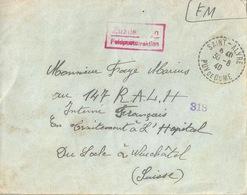 Kriegsgefangenen Brief  Saint-Alyre Puy De Dome - Le Locle          1940 - Documenti