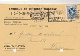 Angre ,(Honnelles),Fabrique De Chicorée Moderne, Désiré Payen ,griffe Linéaire,Quiévrain ,cachet  Bruxelles (midi) 1933 - Honnelles