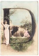 """CPA Alphabet Carte, Femme Et Enfants Lettre """" D """", Ungel. - Fantaisies"""