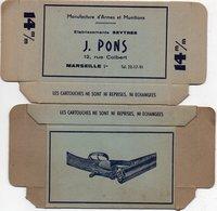 96Hye  Boite Carton Neuve De Cartouches De Chasse 14mm Armes Et Munitions Seytrés J. Pons Rue Colbert à Marseille - Hunting