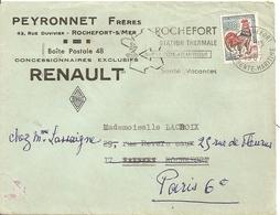 Lettre Peyronnet Freres Concessionnaire Renault Rochefort Sur Mer - Storia Postale