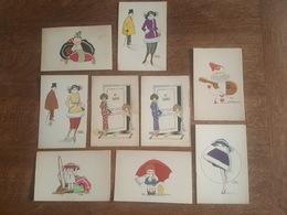 Illustrateur Marcel Avitabile - 9 Cartes Différentes En Bel état - Enfants, Poussin, Chapeau, Guitare, Miroir - Illustrateurs & Photographes