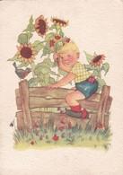 ILLUSTRATION ENFANT KID NIÑO GIRASOL SUNFLOWER NATURE. WALTER FLECHFIG VERLAG. CIRCULEE 1942 GERMANY - BLEUP - Ilustradores & Fotógrafos