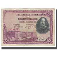 Billet, Espagne, 50 Pesetas, 1928, 1928-08-15, KM:75b, TTB - [ 1] …-1931 : First Banknotes (Banco De España)