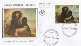 FDC 2019 - Gustave Courbet - Autoportrait Au Chien Noir 1842 - 1er Jour Le 07.06.2019 à 25 Ornans - FDC